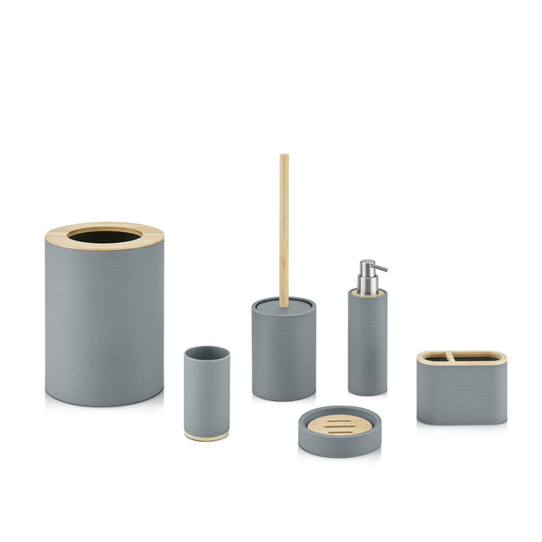 6pc Ribbed Grey Bamboo Detail Bathroom Set