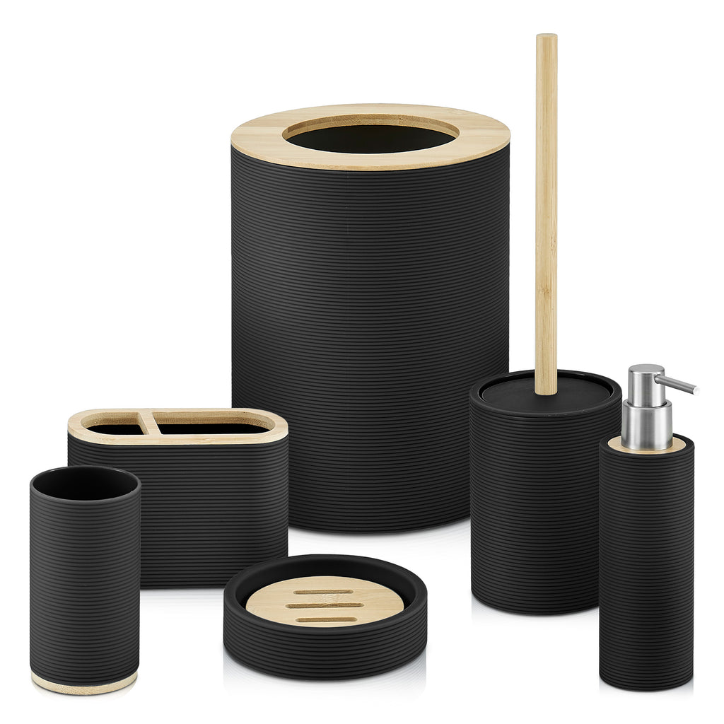 6pc Ribbed Black Bamboo Detail Bathroom Set