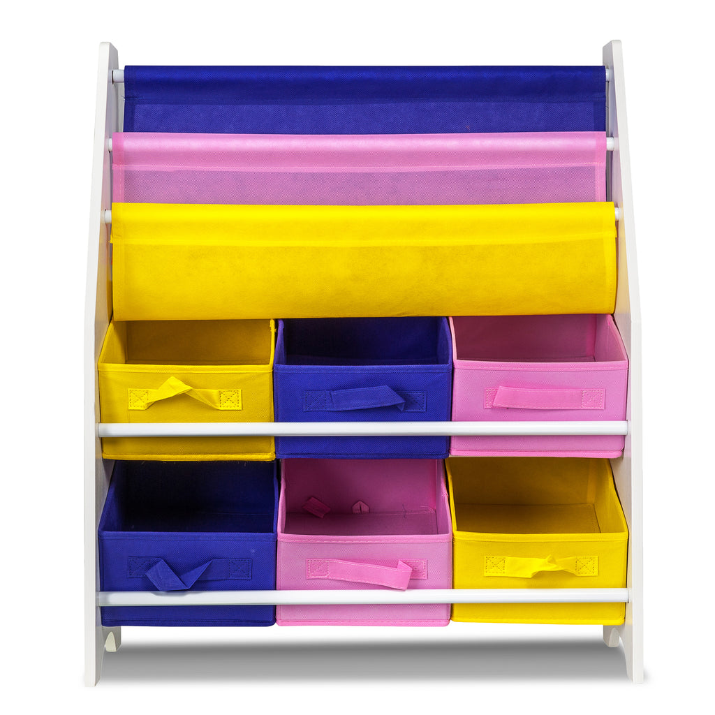 Children Storage Rack for Books and Toys - 3 Slings and 6 Boxes