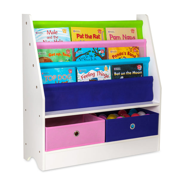 Children Storage Rack for Books and Toys - 4 Slings and 2 Boxes