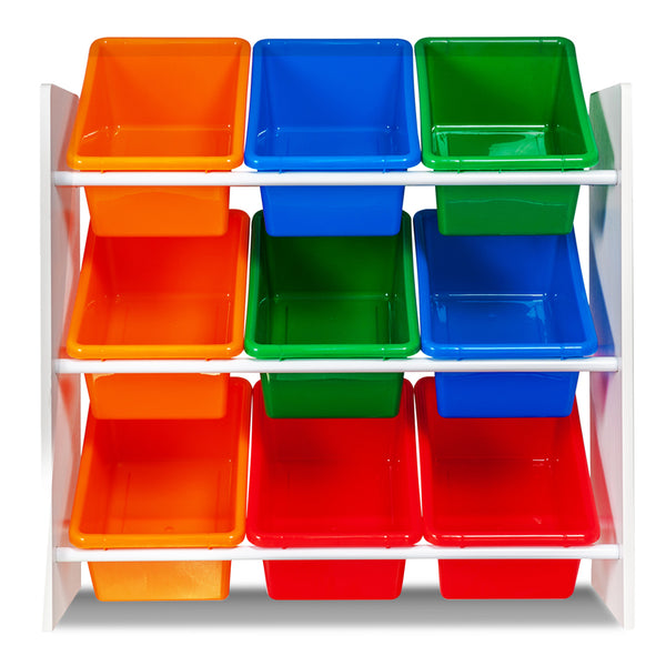 Children's Storage Rack With 9 Tubs Rainbow