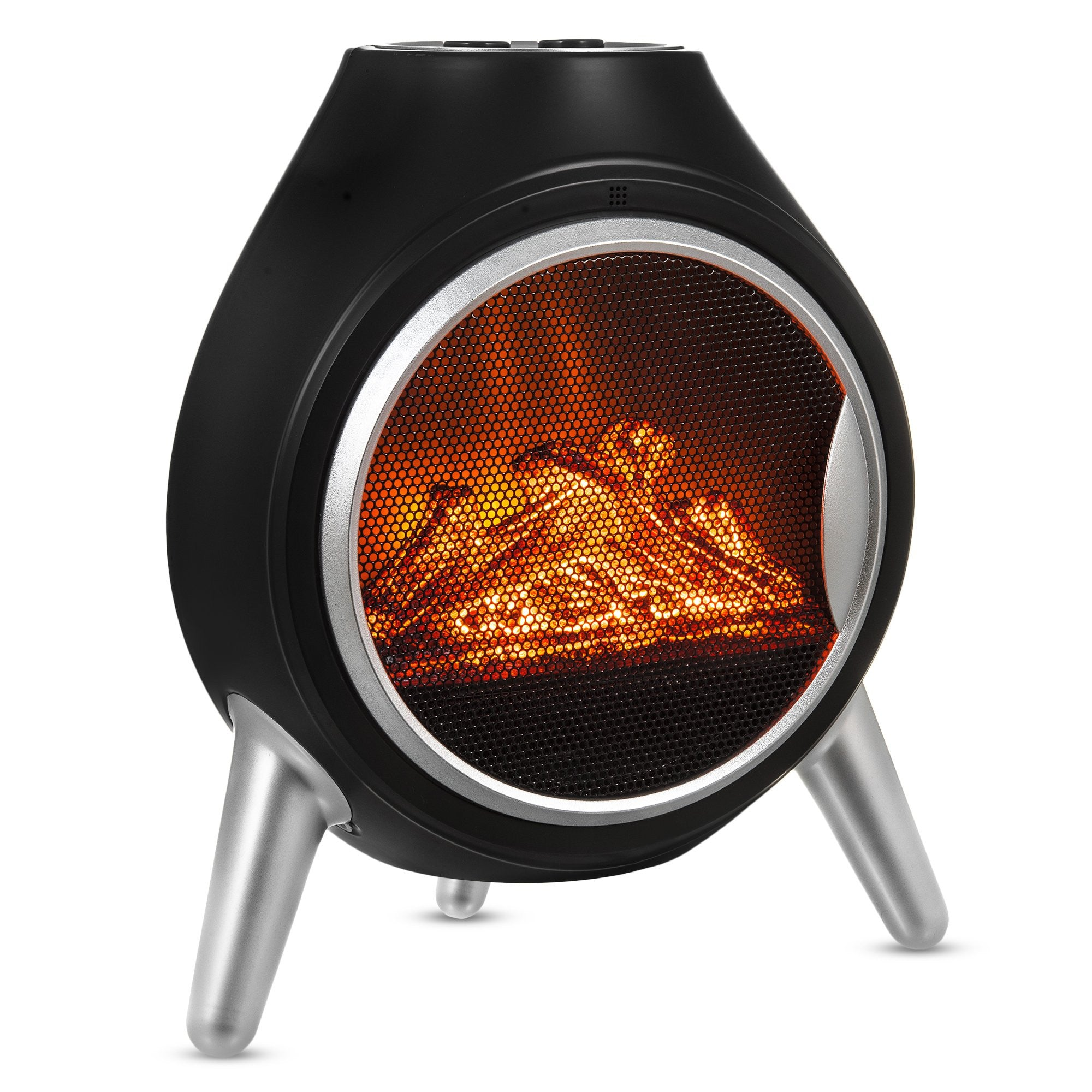Retro Log Electric Fire Heater Black