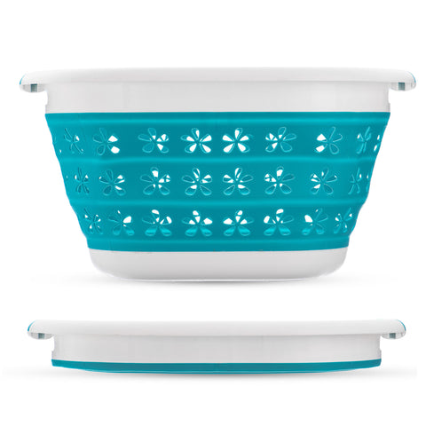 Collapsible Flower Print Laundry Basket - Turquoise