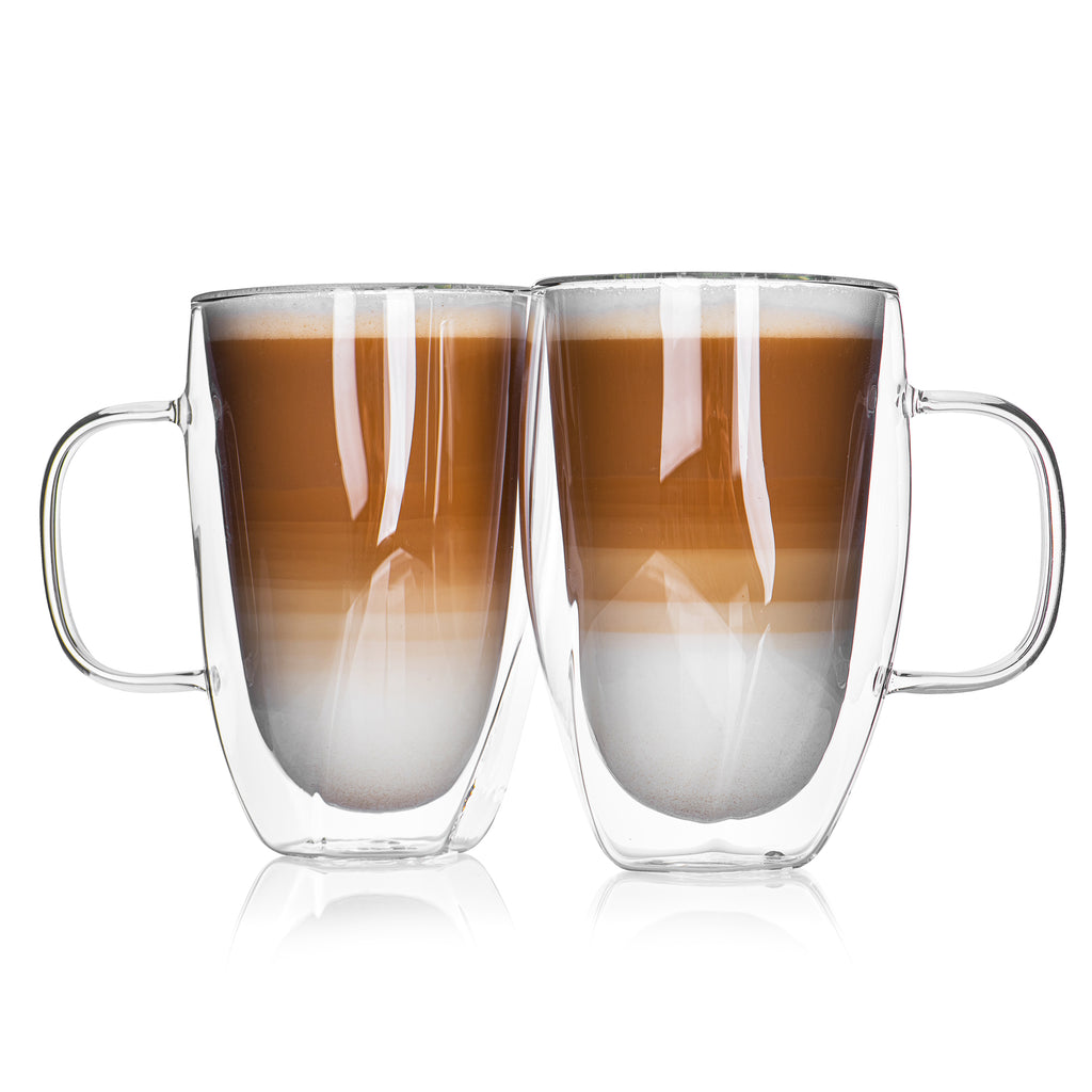 Set Of 2 Double Wall 'Twist' Coffee Mugs With Handle
