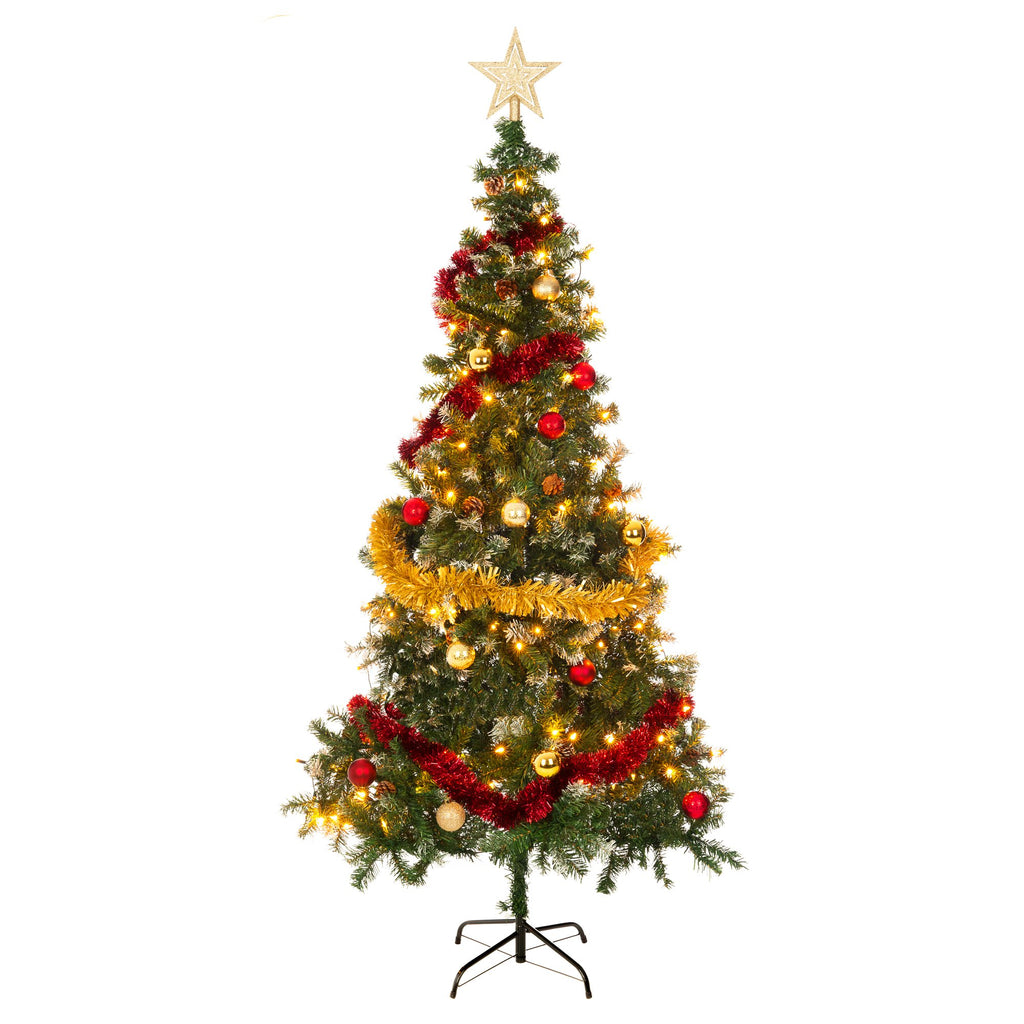 7ft Realistic Artificial Christmas Tree with Snow & Pine Cones