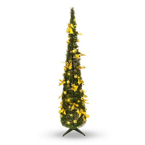 Pop up 6ft Christmas Tree Decorated Elegant With Golden Festive Bows
