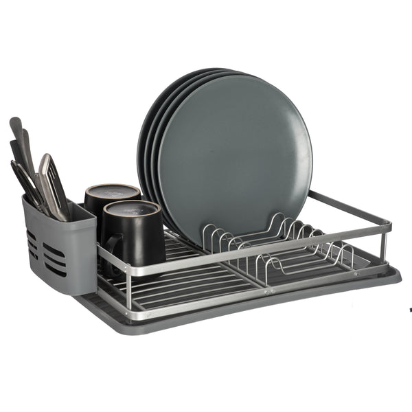 Grey Aluminium Dish Drainer Rack With Removable Drip Tray