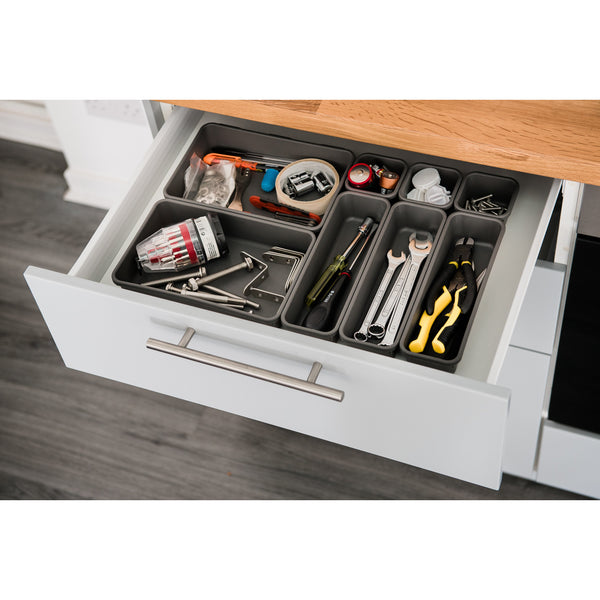 8PC Interlocking Drawer Organiser Grey