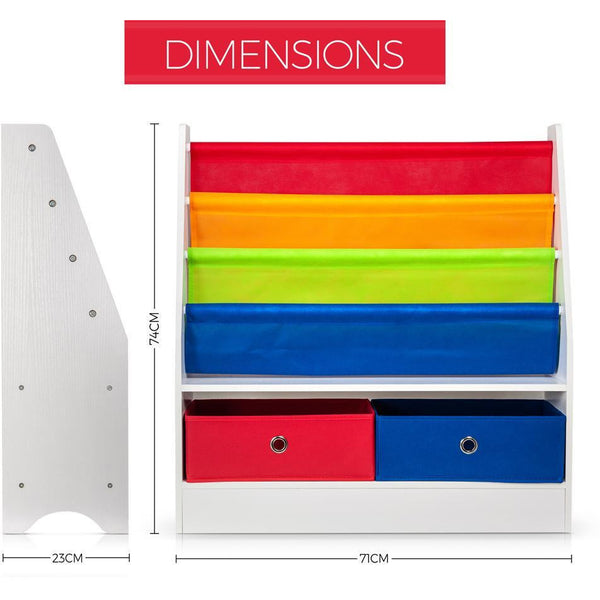 Children Storage Rack for Books & Toys - 4 Slings & 2 Boxes Rainbow