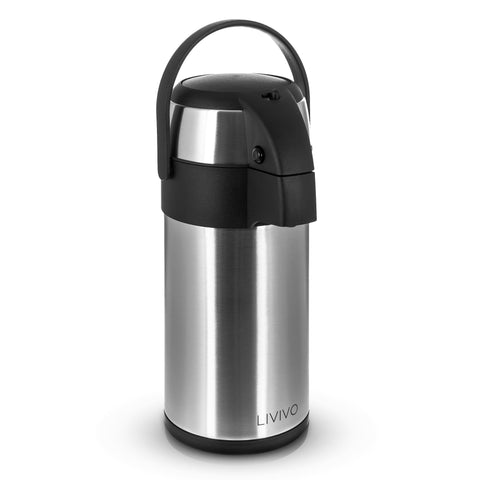 3L Pump Action Vacuum Flask Silver