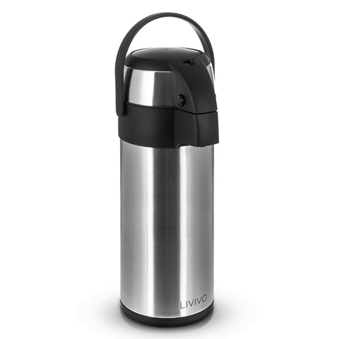 5L Pump Action Vacuum Air Flask Silver