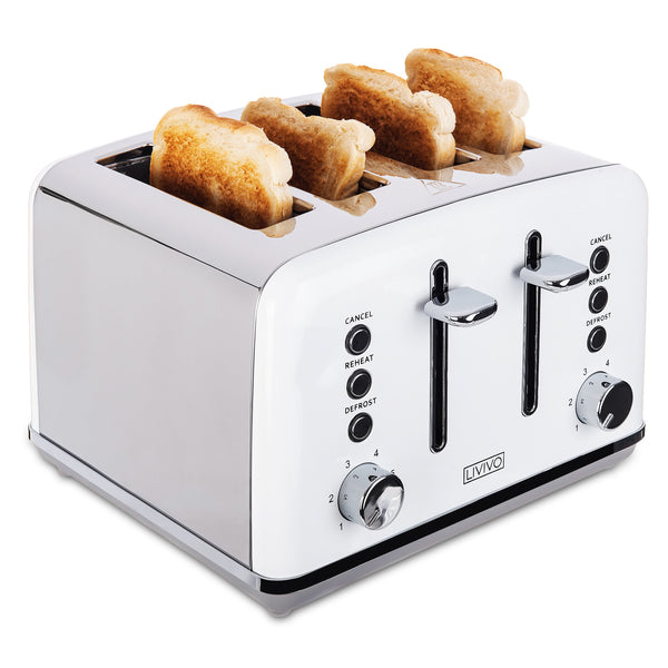 4 Slice White Toaster with Removable Crumb Trays