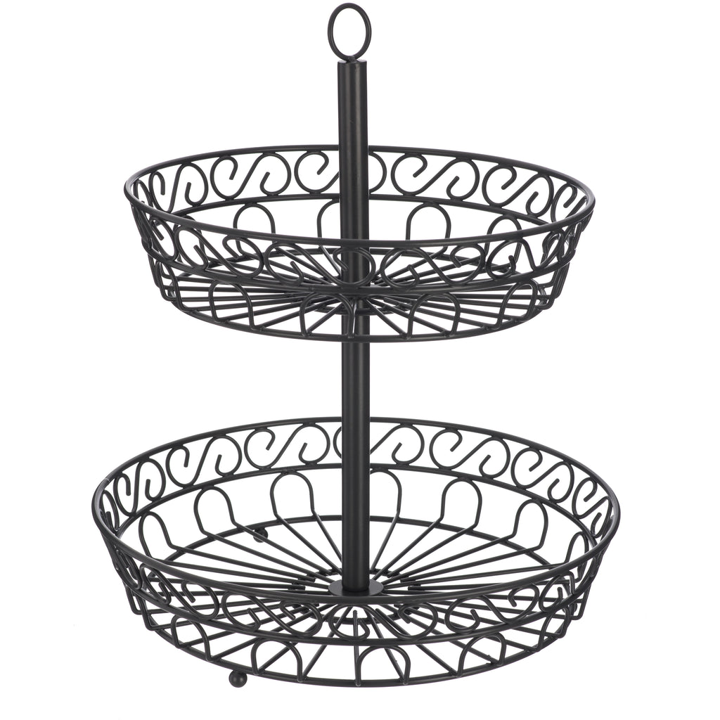 Stylish 2-Tier Fruit & Vegetable Basket With Swirl Design