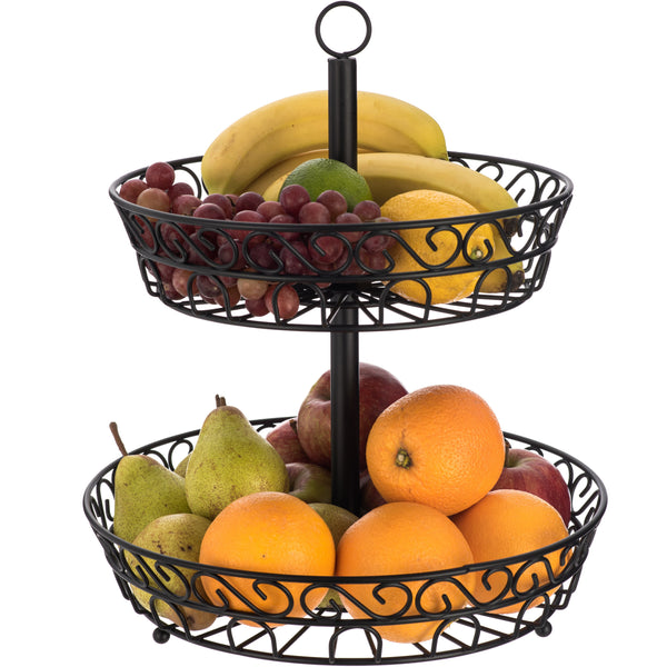 2-Tier Fruit and Vegetable Basket with Swirl Design Black