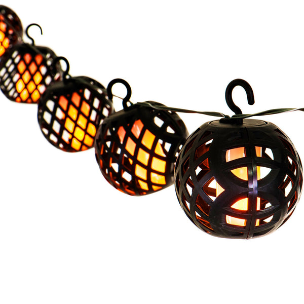 8 Solar Rattan Flame Effect String Lights