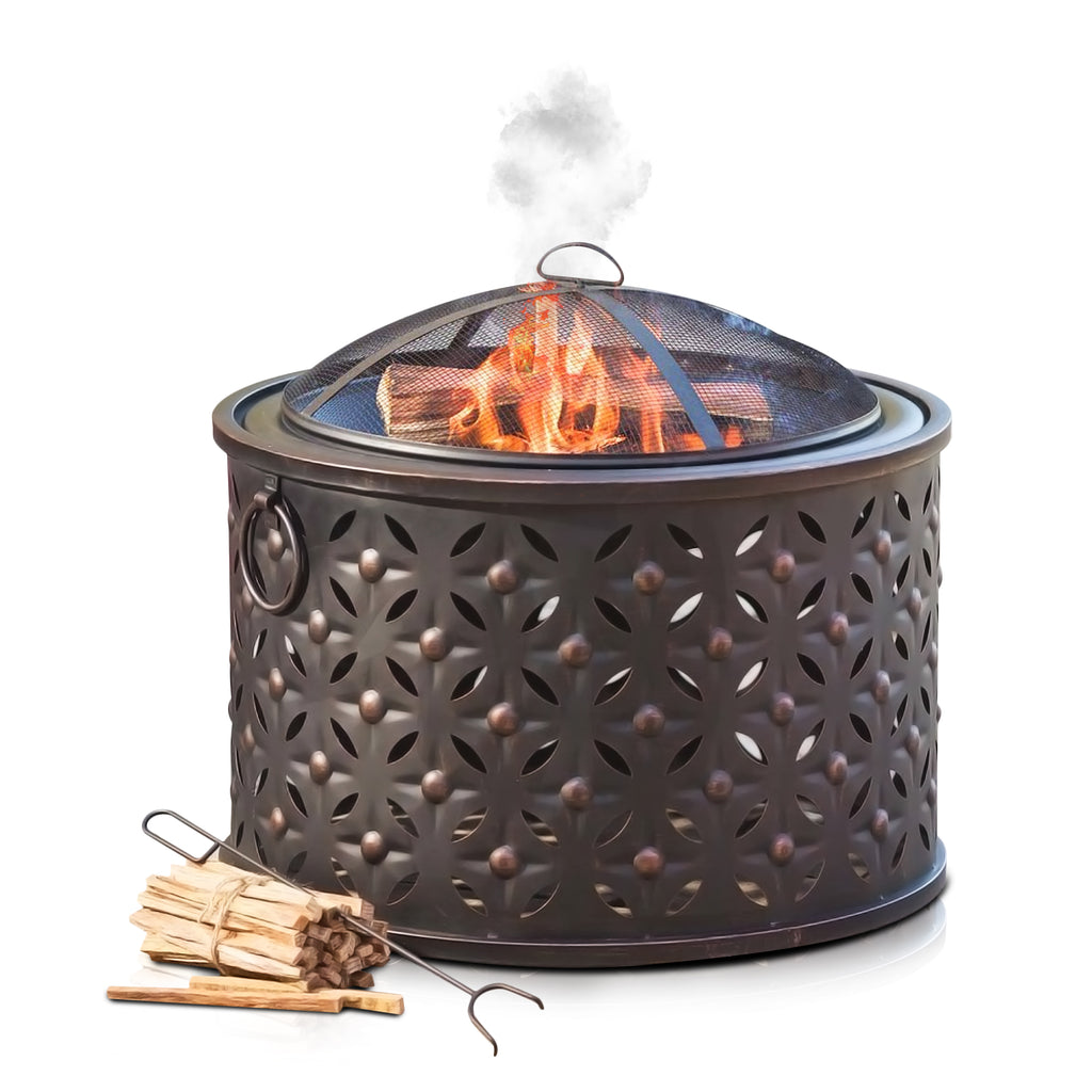 Rombo Fire Pit Brazier with BBQ, Mesh Spark Guard and Fire Poker - LIVIVO