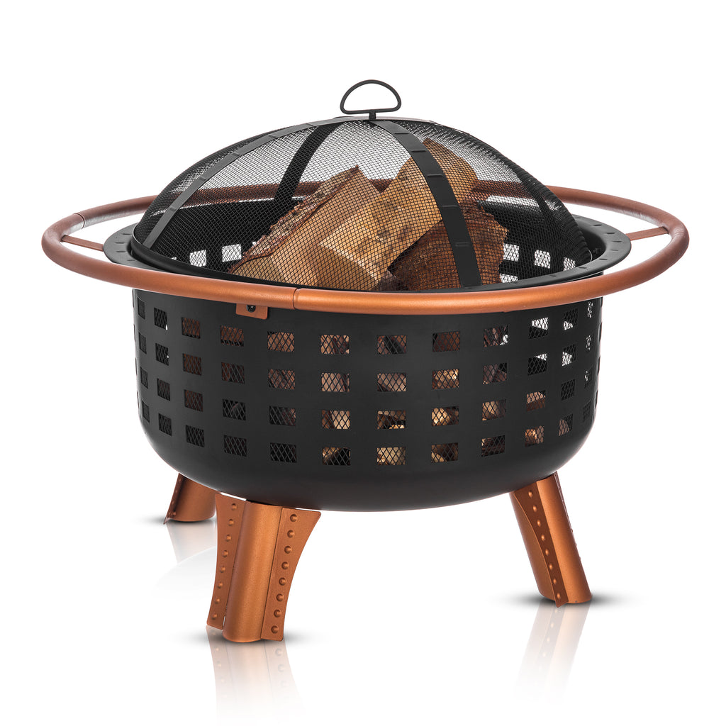 'Saturn' Fire Pit Brazier with Spark Guard, Poker and BBQ Grill