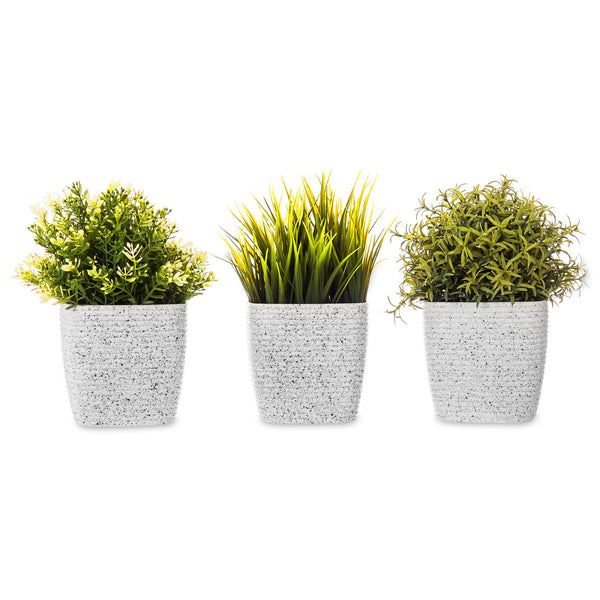 Set of 3 Plant Pots Striped White 12cm