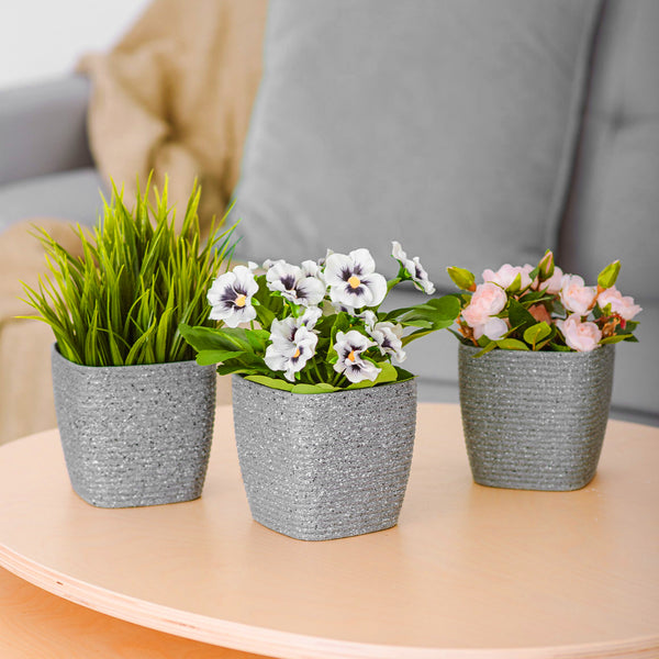 Set of 3 Plant Pots Striped Grey 12cm