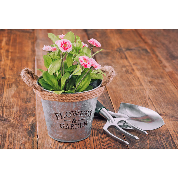 Set of 3 Rustic Zinc Galvanised 16cm Plant Pots with Hessian Rope