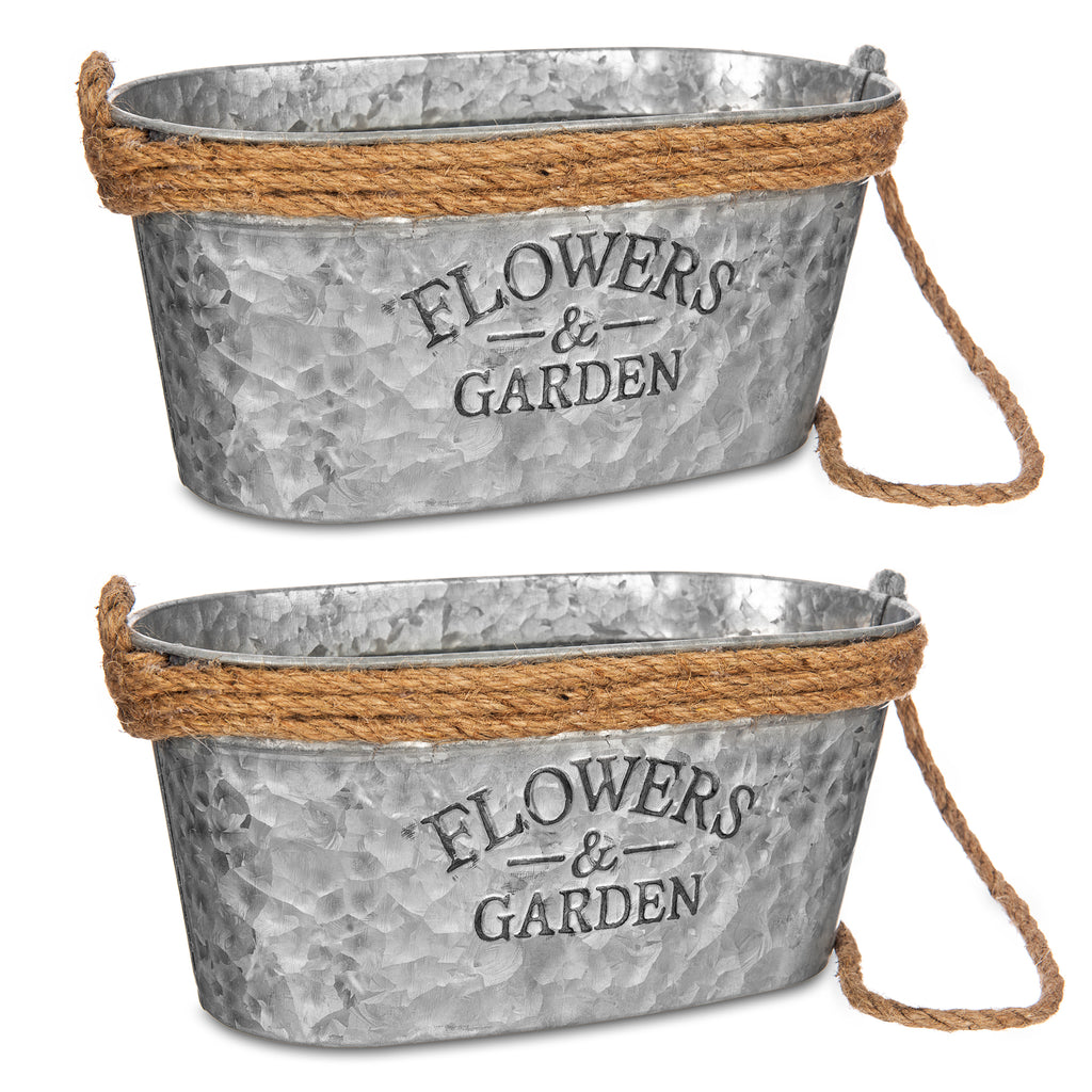 Set of 2 Rustic Zinc Galvanised 25cm Plant Pots with Hessian Rope