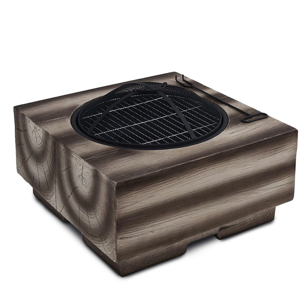 Wood Effect Brown Fire Pit Brazier with Mesh Spark Guard, BBQ Grill Insert, Metal Fire Poker