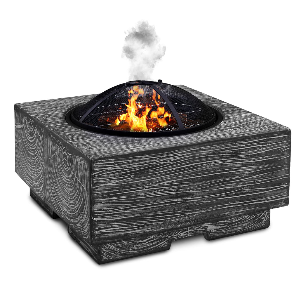 Wood Effect Grey Fire Pit Brazier with Mesh Spark Guard, BBQ Grill Insert, Metal Fire Poker