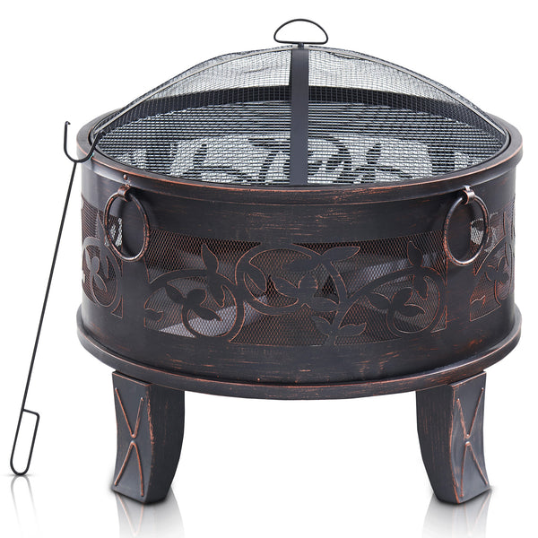 Round Lattice Fire Pit with Spark Guard, Fire Poker and BBQ Grill