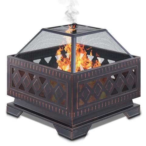 Square Lattice Design Fire Pit Brazier With BBQ Grill