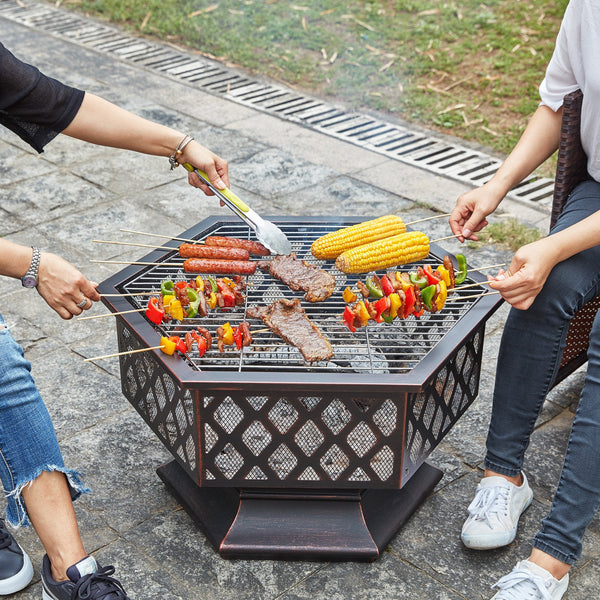 Hexagonal Fire Pit With BBQ Grill