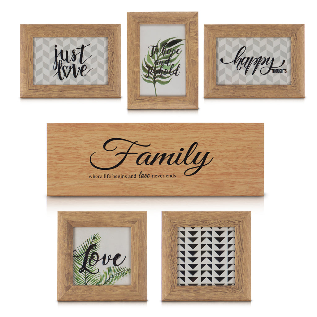 6 Pack Multi-picture Wooden Frames with Family Plaque