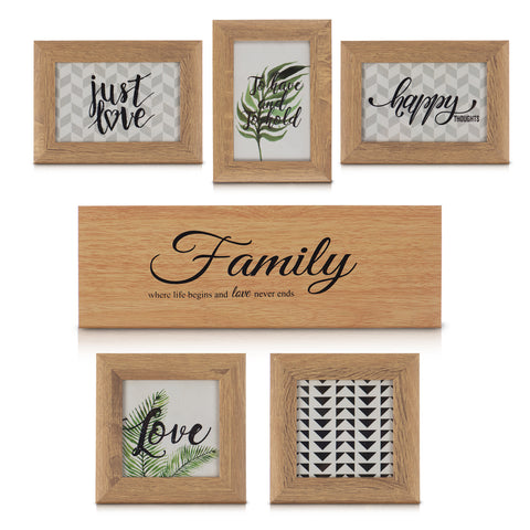 6 Pack Multi-picture Wooden Frames