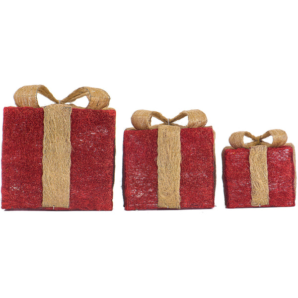 Christmas set of 3 LED Light Up Gift Boxes- Red and Gold