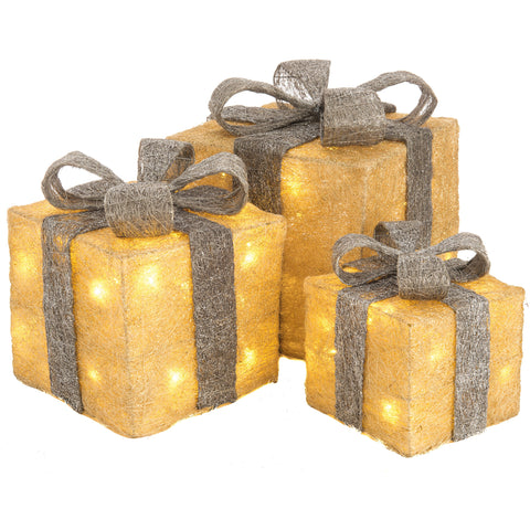 Christmas set of 3 LED Light Up Gift Boxes- Gold and Silver