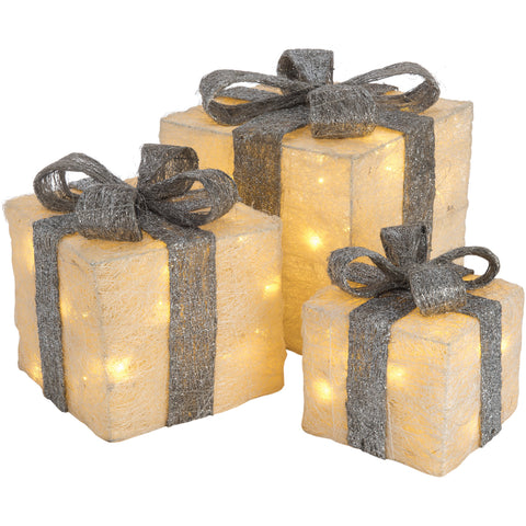 Christmas set of 3 LED Light Up Gift Boxes- White and Silver