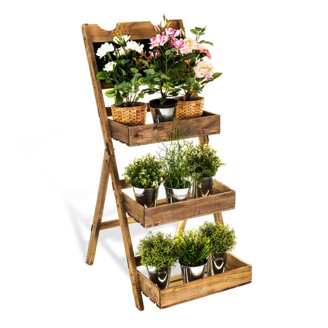 3-Tier Vintage Wooden Garden Shelf Planter With Chalkboard