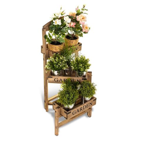 3-Tier Folding Wooden Garden Stand Planter