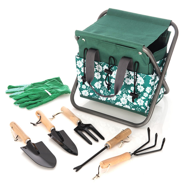 8pc Gardening Stool and Tool Set