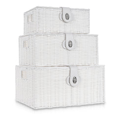 Set of 3 Resin Hamper Baskets White