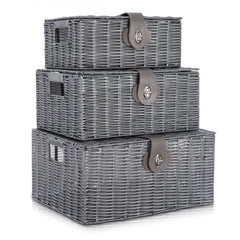 Set of 3 Resin Hamper Baskets Grey