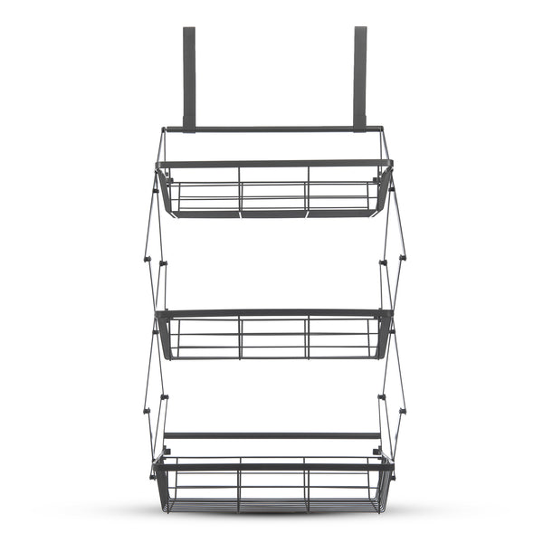 LIVIVO 3 Tier Over Door Collapsible Storage Basket Grey