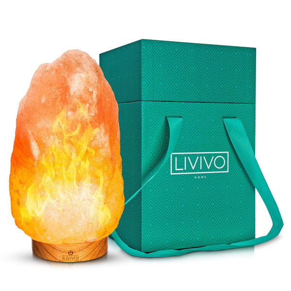 Deluxe Himalayan Rock Salt Lamp With Flame Effect