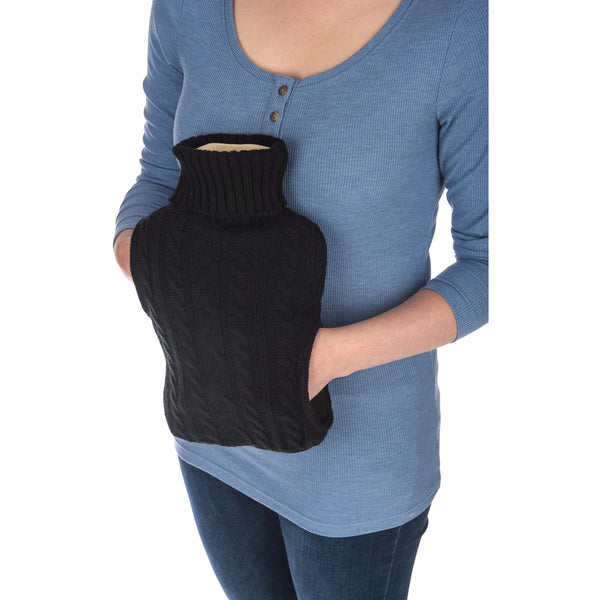 2L Hot Water Bottle with Pockets Cable Knit Design in Black