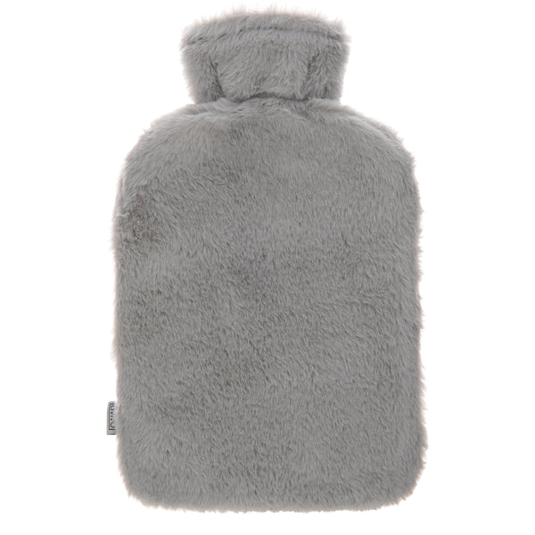 2L Hot Water Bottle- Grey Fur With Pockets