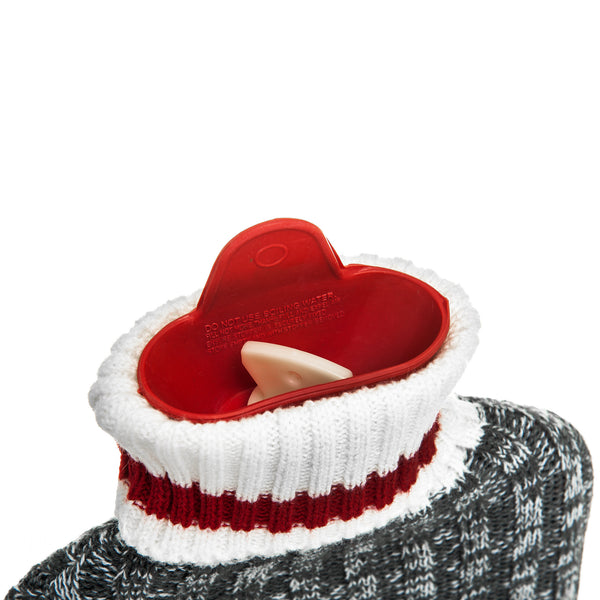 2L Red and Grey Cable Knit Hot Water Bottle with Removable Cover