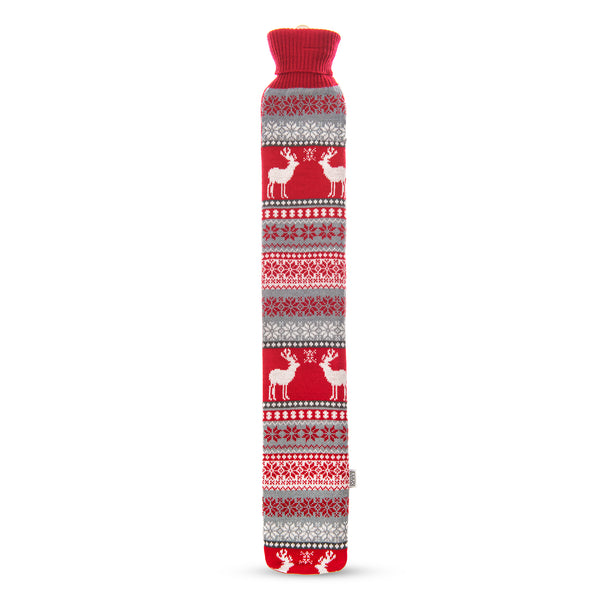 2L Long Festive Hot Water Bottle with Removable Cover