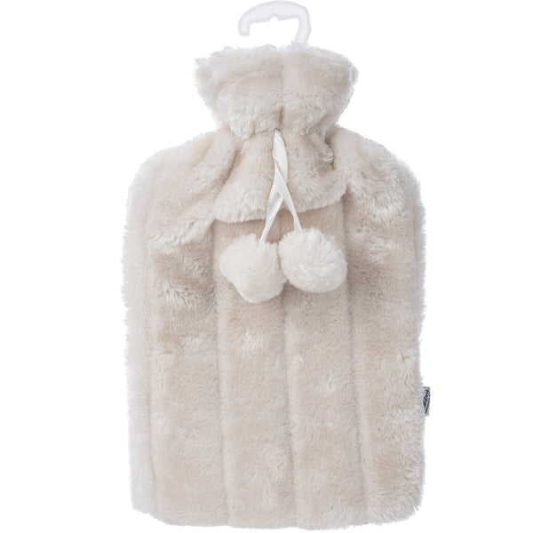 2L Cream Microfiber Fleece Hot Water Bottle with Removable Cover