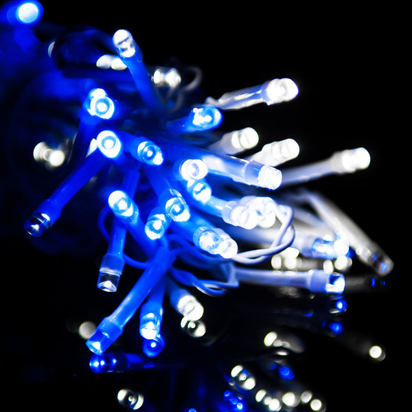 1200 Blue and White Icicle Christmas Lights with 8 Functions