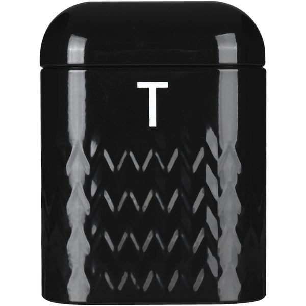 Taurus Bread Bin Tea Coffee & Sugar Storage Set - Black