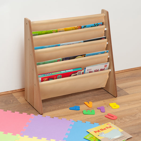 Children's Storage Bookshelf With 5 Slings Natural